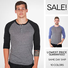 Alternative Apparel 3/4 Baseball Raglan Henley Eco Heather Long Sleeve T Shirt
