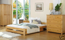 New Bedroom Set5Piece King Size Bed  Mattress Chest of Drawer Bedside DrawerPine