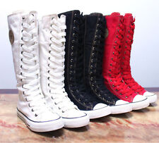 Womens Girl Punk Rock Gothic Canvas College Shoe Sneaker Knee High Zip Lace Up