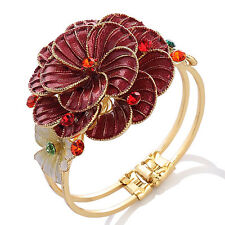 Janeo Flower Cuff Bangle Swarovski Crystals Elements Stunning Christmas Gift Her