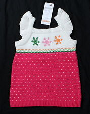 NWT girls sz 3 6 12 mos GYMBOREE Cheery All The Way pink sweater snowflake dress