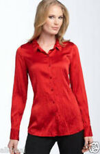 NEW EILEEN FISHER CRINKLE SILK CHARMEUSE CLASSIC COLLAR SCARLET SHIRT TOP