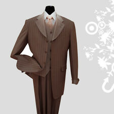 Men's 3 piece Luxurious Classic Gangster Pinstripe Wool Feel Suit Brown sty-2911