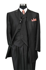 "Men's 3 Piece Black Luxurious Wool Feel Herring Bone Stripe 35"" Jacket  5264"