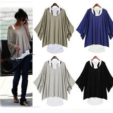 Ladies Girl 2Pcs Short Sleeve Loose Vest Top T-Shirt 2 in 1 Style Batwing Blouse