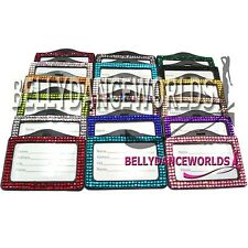 BLING RHINESTONE CRYSTAL HORIZONTAL ID BADGE CASE DOCUMENT HOLDER FOR LANYARDS