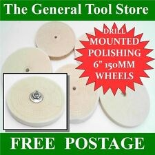 DRILL MOUNTED POLISHING WHEELS. CHOICE OF WHEELS FOR METAL COPPER BRASS GRP