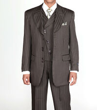 Men's 3 piece Fashion Tone on Tone Stripe Suits w/Vest Dark Olive 29197