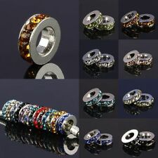 Wholesale Mix Crystal Rhinestone Round Wheeel European Charms Beads Fit Bracelet