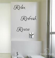 RELAX, REFRESH, REVIVE WALL STICKERS | WALL ART | DECALS | FREE UK POST!