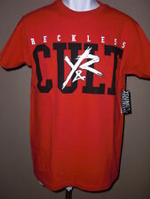 New S Mens Young & Reckless T-Shirt Red W/Black & White 100% Cotton