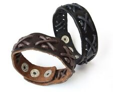 NEW Leather Hemp Snap Button Bracelet Wristband Vintage Cuff Brown Black 8.5""