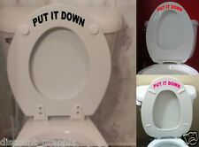 "TOILET SEAT LETTERING DECAL "" PUT IT DOWN "" STICKER BATHROOM REMIND ME HIM OR UP"