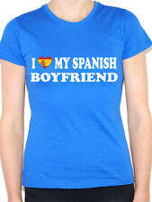 I LOVE MY SPANISH BOYFRIEND - Valentine / Spain Flag Themed Womens T-Shirt