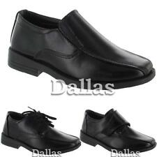 BOYS SMART DRESS SHOES KIDS WEDDING FORMAL BLACK BACK TO SCHOOL SHOES ALL SIZE