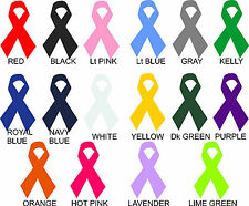 """Lot of 9 Awareness Ribbon Vinyl Decals Stickers 4"""" YOU CHOOSE COLOR car cancer"""