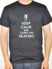 KEEP CALM AND CARRY ON SKATING - Skates / Boarding / Fun Themed Mens T-Shirt