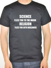 SCIENCE FLIES TO MOON RELIGION BUILDINGS Atheism / Atheist Themed Men's T-Shirt