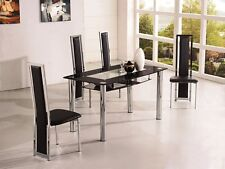 ROVIGO SMALL GLASS CHROME DINING ROOM TABLE AND 2 CHAIRS SET -105 cm- IJ601-818S