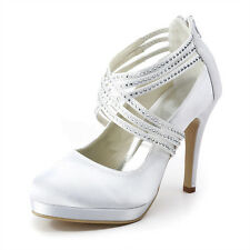 Silk punp Heel Bridal Wedding Shoes White womens porm shoes mary janes