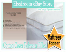 King/Queen/Double/Single Size Premium Fitted Mattress Topper Pure Cotton Cover