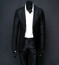 SA06 Mens Dress Casual Business Slim fit Black One Button Suit Jacket and Pants