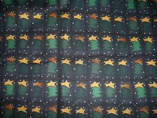 New 100% Cotton Quilt Fabric Green Christmas Trees Sewing Material Per Yd