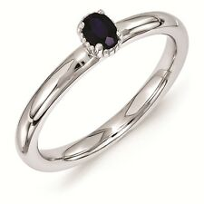 Silver Stackable Ring 1 Oval Created Sapphire stone September Birthstone QSK1572