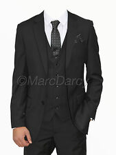 MENS MARC DARCY DESIGNER BLACK 3 PIECE SUIT IDEAL FOR WEDDINGS AND SCHOOL PROMS