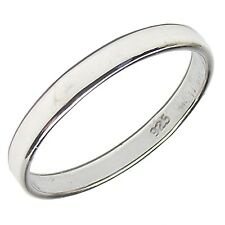 Plain Flat BAND RING 2mm Wide 925 Sterling SILVER Various Sizes Wedding