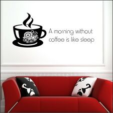 MORNING WITHOUT COFFEE wall art quotes kitchen vinyl decal café