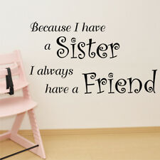 SISTER FRIEND quote wall sticker for kids bedroom family love decals