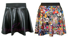 WOMENS LADIES SEXY SKATER SKIRT HIGH WAISTED FAUX LEATHER PU WET LOOK MINI SKIRT