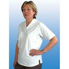 LADIES EMSMORN POLY COTTON WHITE BOWLS SHIRT WITH POCKET 10,12,14,16,18,20,22,24