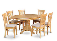 5 PC OVAL DINETTE KITCHEN DINING ROOM SET TABLE & CUSHIONED 4 CHAIRS OAK FINISH