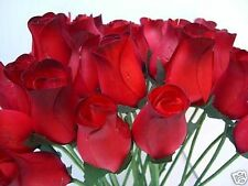 WHOLESALE JOB LOT CLEARANCE RED WITH DARK TIPS ARTIFICIAL FLOWERS WOODEN ROSES