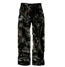 WATERPROOF WINDPROOF TROUSERS Black Camo Mens S-XXL hiking fishing hunting
