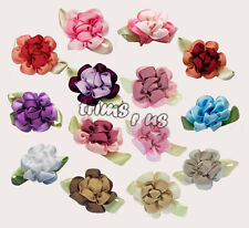 U PICK - Handmade Satin Ribbon 2-Tone Hydrangea Flowers Sew On x 10 pcs #1074