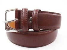 MENS HIGH QUALITY BONDED LEATHER BELT SILVER BUCKLE CASUAL JEANS SMART