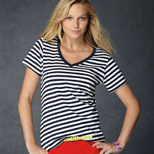 LADIES CASUAL SHEER STRIPED V-NECK SHORT SLEEVE T-SHIRT (AV124) SIZE S-XXL