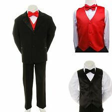Boy Teen Formal Wedding Party Prom 7pc Black Suit Tuxedo + Red Vest Bow Tie 8-20