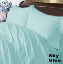 SKY BLUE STRIPE COMPLETE USA BEDDING 1000TC 100% COTTON CHOOSE SIZE AND ITEMS