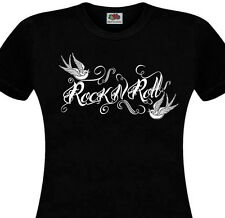 T-SHIRT ROCK'N'ROLL - Hirondelles Tattoo Old School Pin Up Tatouage Swallows Tee