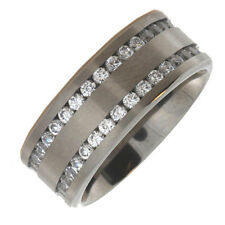 Titanium 9mm Cubic Zirconia Full Double Eternity Ring with in a Leatherette Box