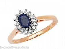 9ct Yellow Gold Real Sapphire Oval & Diamond Ring (available in sizes G - Z)