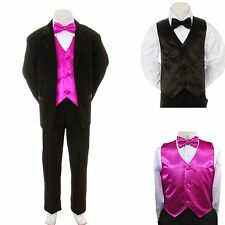 New Baby Boy Formal Wedding Party Black Suit Tuxedo + Fuchsia Vest Bow Tie S-4T