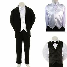 Boy Teen Formal Wedding Party Church Black Suit Tuxedo + White Vest Bow Tie 8-14