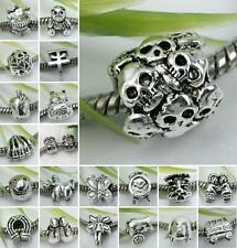 5/10/20pc Tibetan Silver European Spacer Loose Beads Fit Charm Bracelet Big Hole