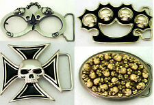 Mens Belt Buckle New Skulls Hip Antiqued Nickel Silver Chrome Metal Bling Women.