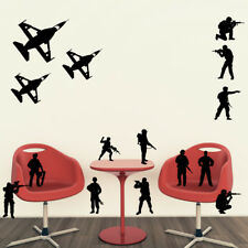 ARMY SOLDIERS Wall art stickers viny kids bedroom boys plane soldier troops man